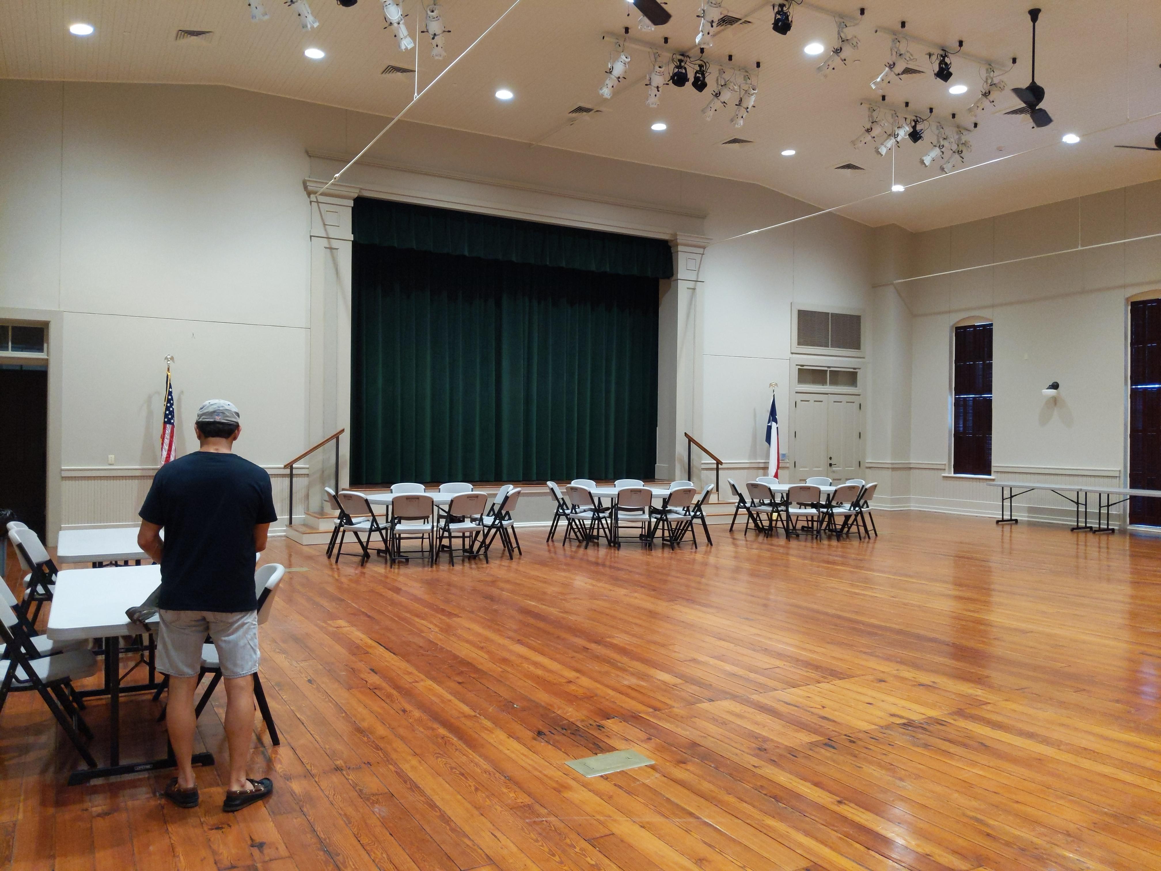 Dance floor and stage with original wood floor