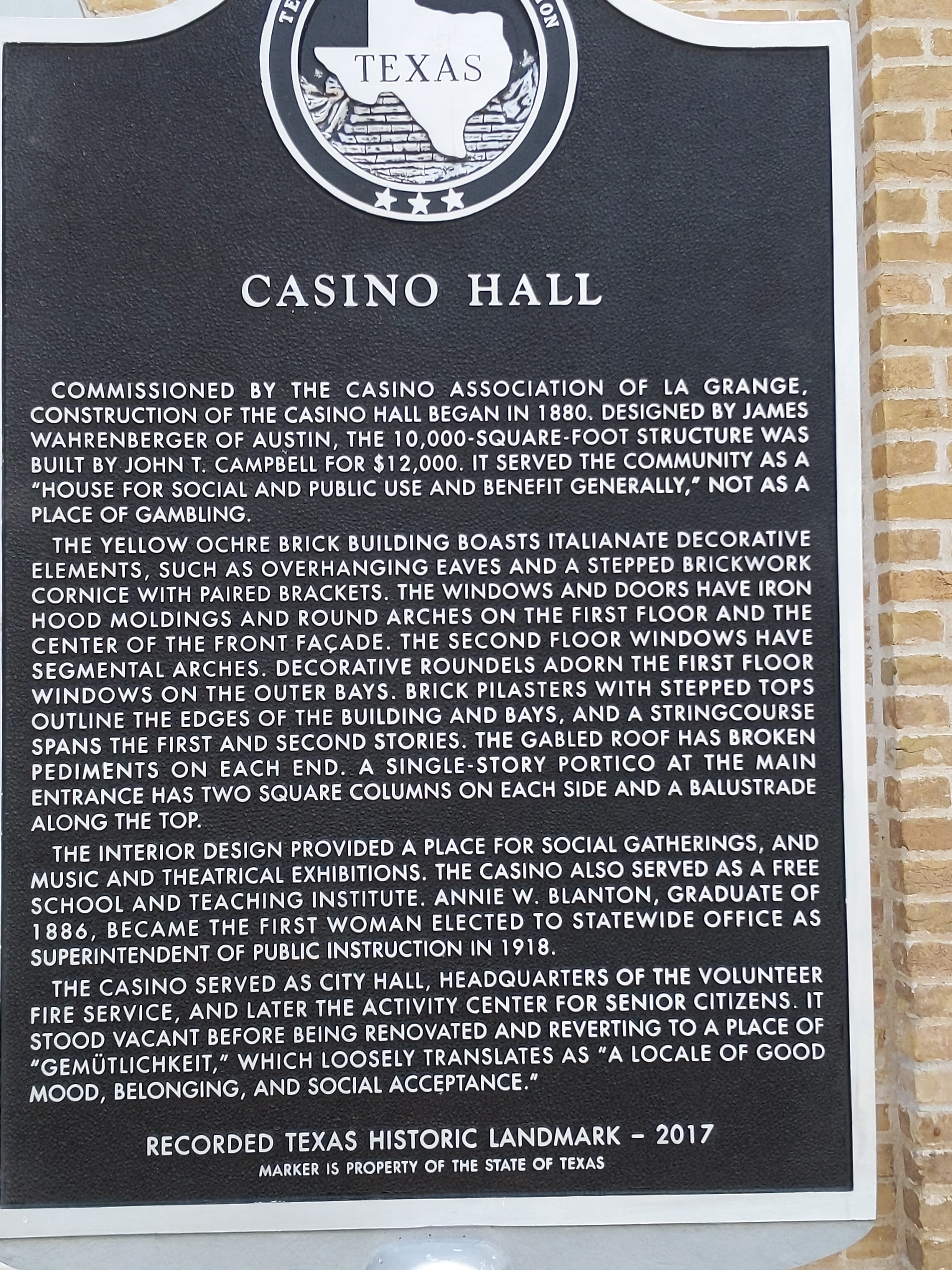 Historic marker for the Historic Casino Hall