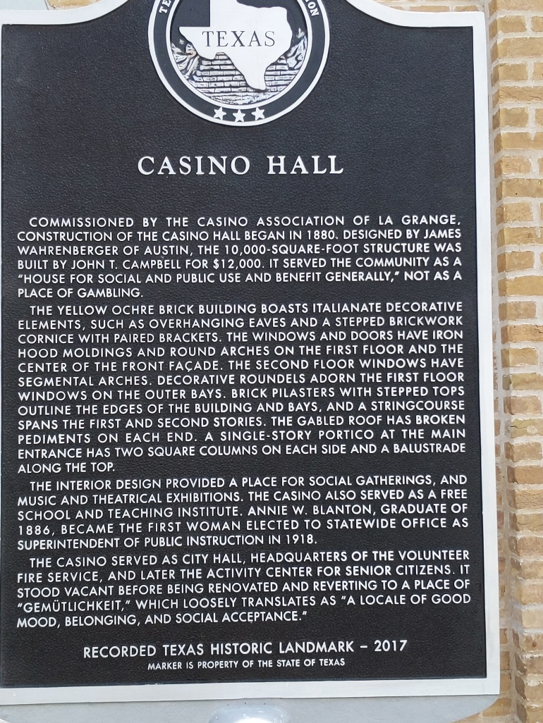 Historic marker for the Historic Casino Hall
