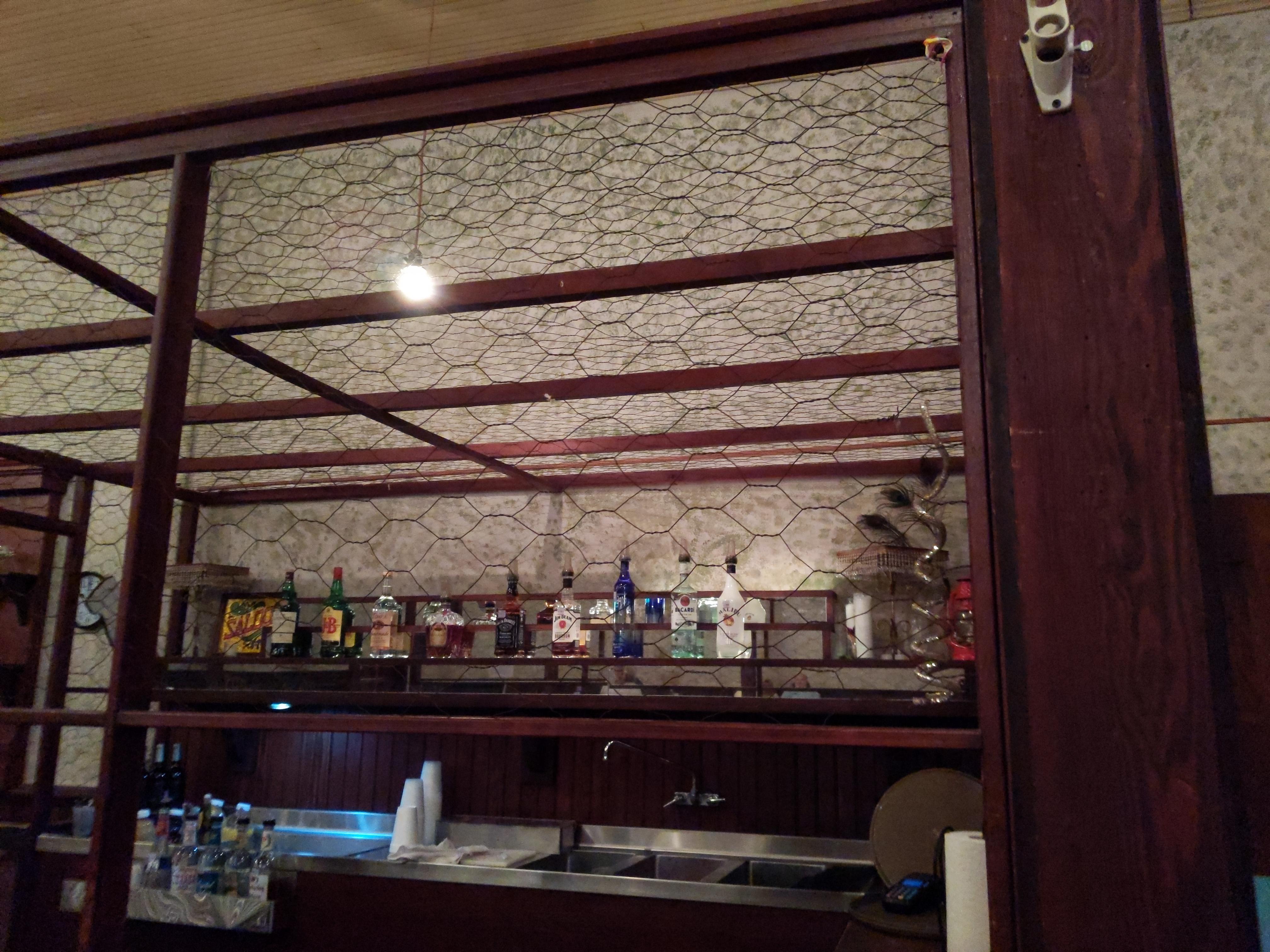 chicken wire around the bar