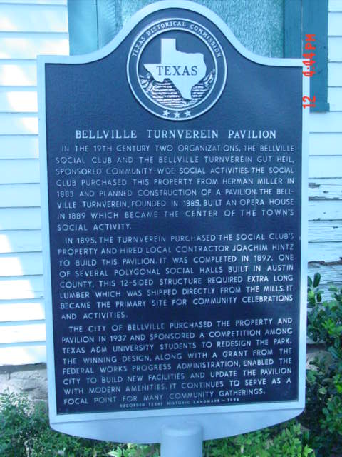 Bellville Turnverin marker